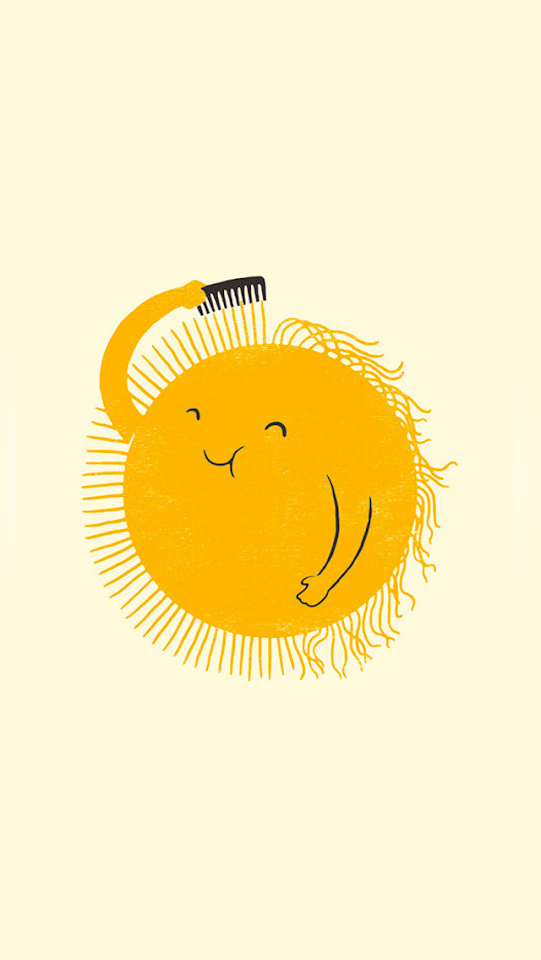 Sun Combing Hair Flat Illustration  Galaxy Note HD Wallpaper