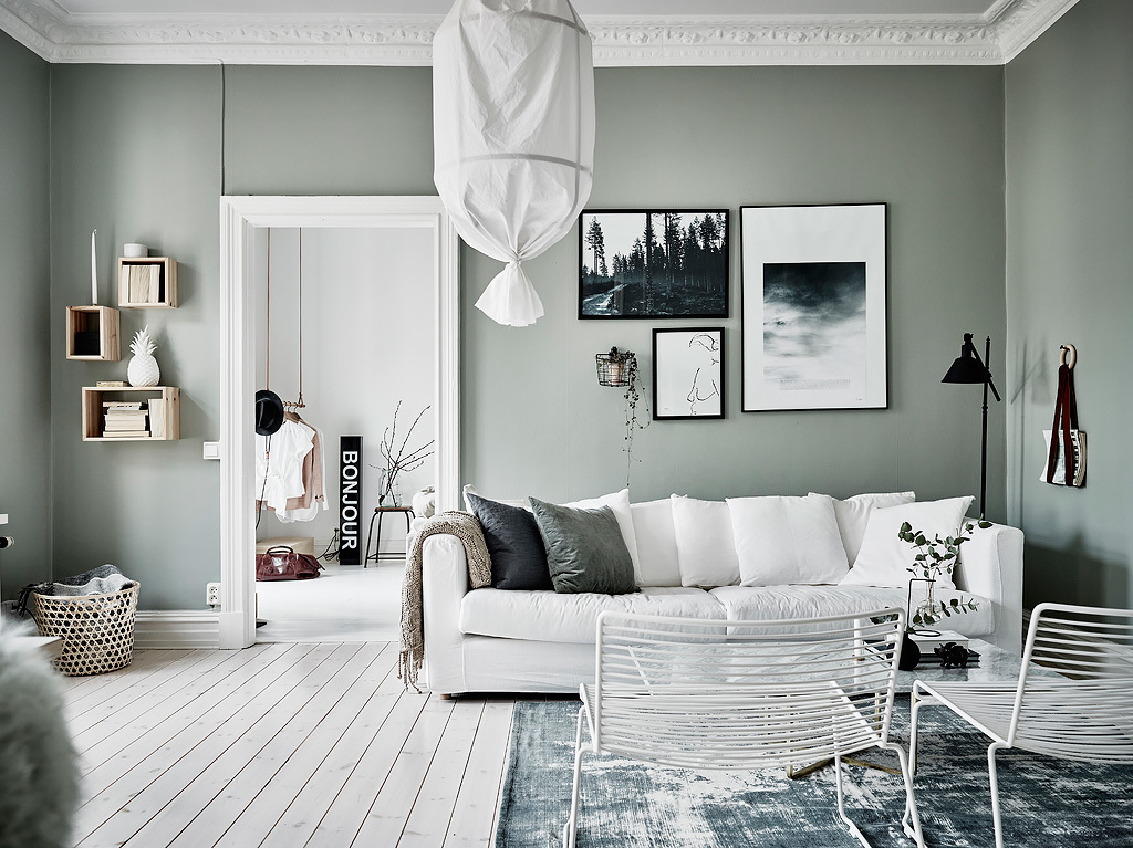 Pavimento Bianco Colore Pareti : Appartamento scandinavo con pareti grigio verde arc art blog by