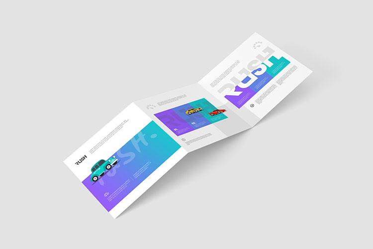 Square Trifold Brochure Mockup Z-Fold