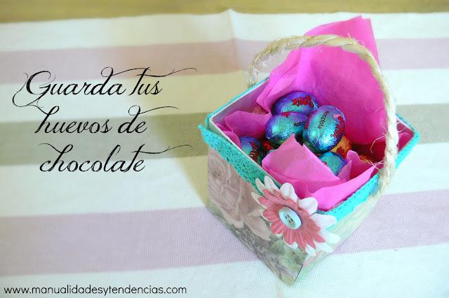 Huevos de chocolate en cesta de Pascua hecha a mano