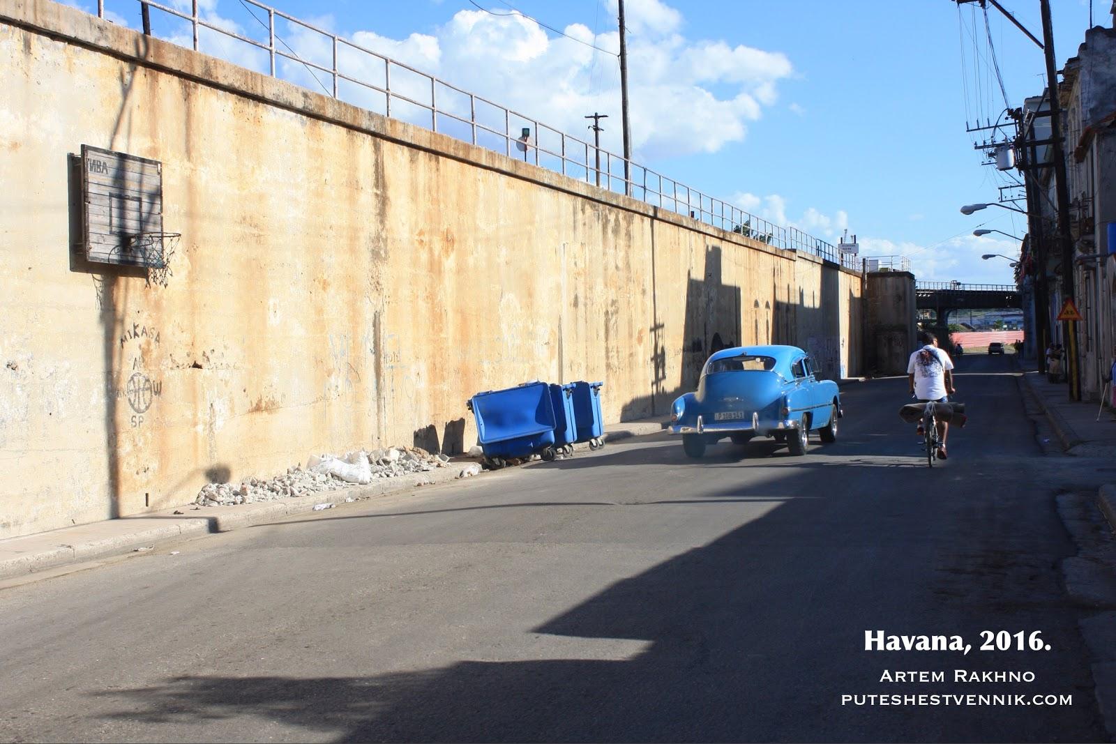 Баскетбольное кольцо на стене улицы Гаваны