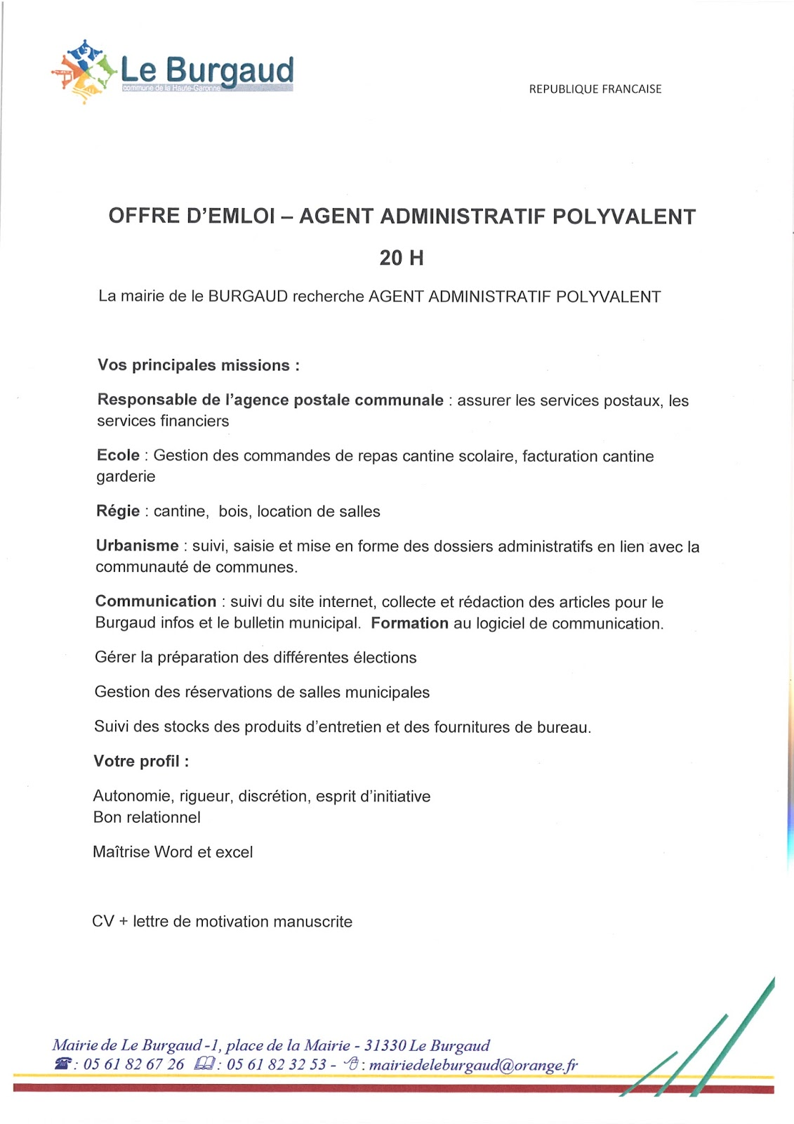 agent administratif offre d emploi