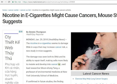 Bài viết gốc về tác hại của nicotine trong thuốc lá điện tử trên medicinenet.com