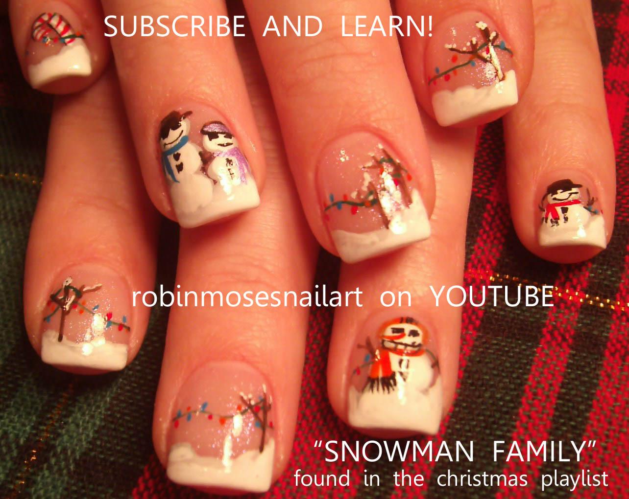 Nail Art by Robin Moses: snowman nail art, snow man nails, pink and ...