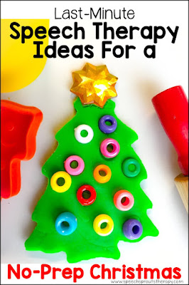 A cookie cutter christmas tree activity with green play dough and colorful pony beads for ornaments. Just one of the fun last-minute games and ideas for stress-free, no-prep speech therapy sessions this Christmas! #speechsprouts #speechtherapy #Christmas #speechandlanguage