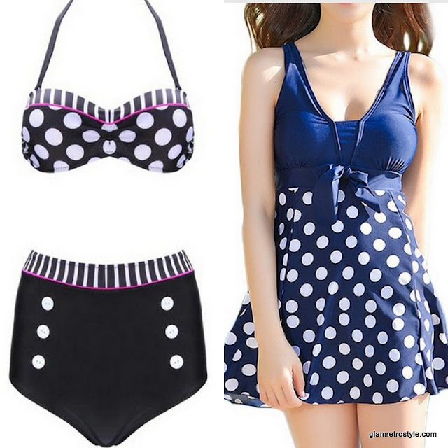 retro vintage rockabilly pinup 50s swimsuit polkadot bikini swimming dress summer