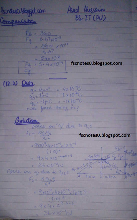 F.Sc ICS Notes: Physics XII: Chapter 12 Electrostatics Numerical Problems by Asad Hussain 1
