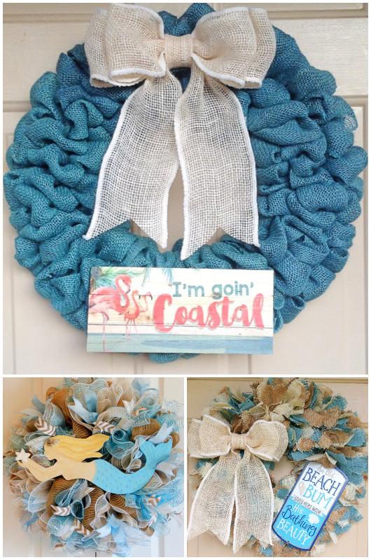 Beach Burlap Wreaths