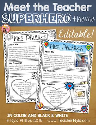 Meet the Teacher Editable Template - Superhero Theme