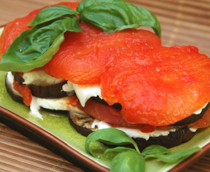 Eggplant and tomato millefeuille
