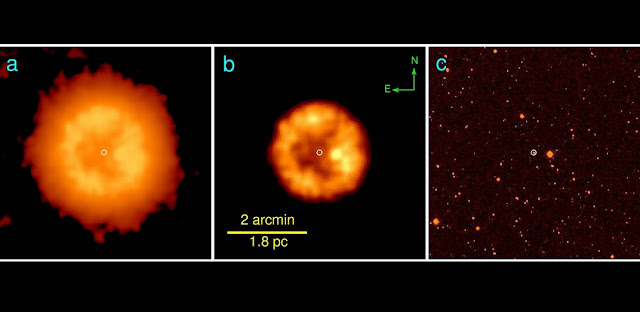 The infrared nebula of J005311: WISE 22 micron infrared images at different intensity scales (panels a and b) compared with an optical IPHAS H alpha image where the nebula is not visible (panel c). (c) Vasilii Gvaramadse/Moscow University