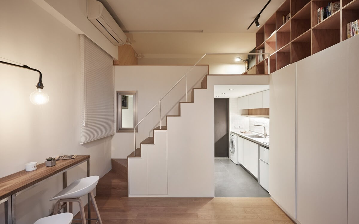 05-Stairs-to-Bedroom-Kitchen-and-Entrance-A-Little-Design-Tiny-Apartment-Smart-Design-Renovation-www-designstack-co