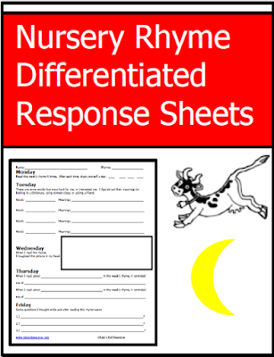 Three levels of nursery rhyme reading response sheets from Raki's Rad Resources.