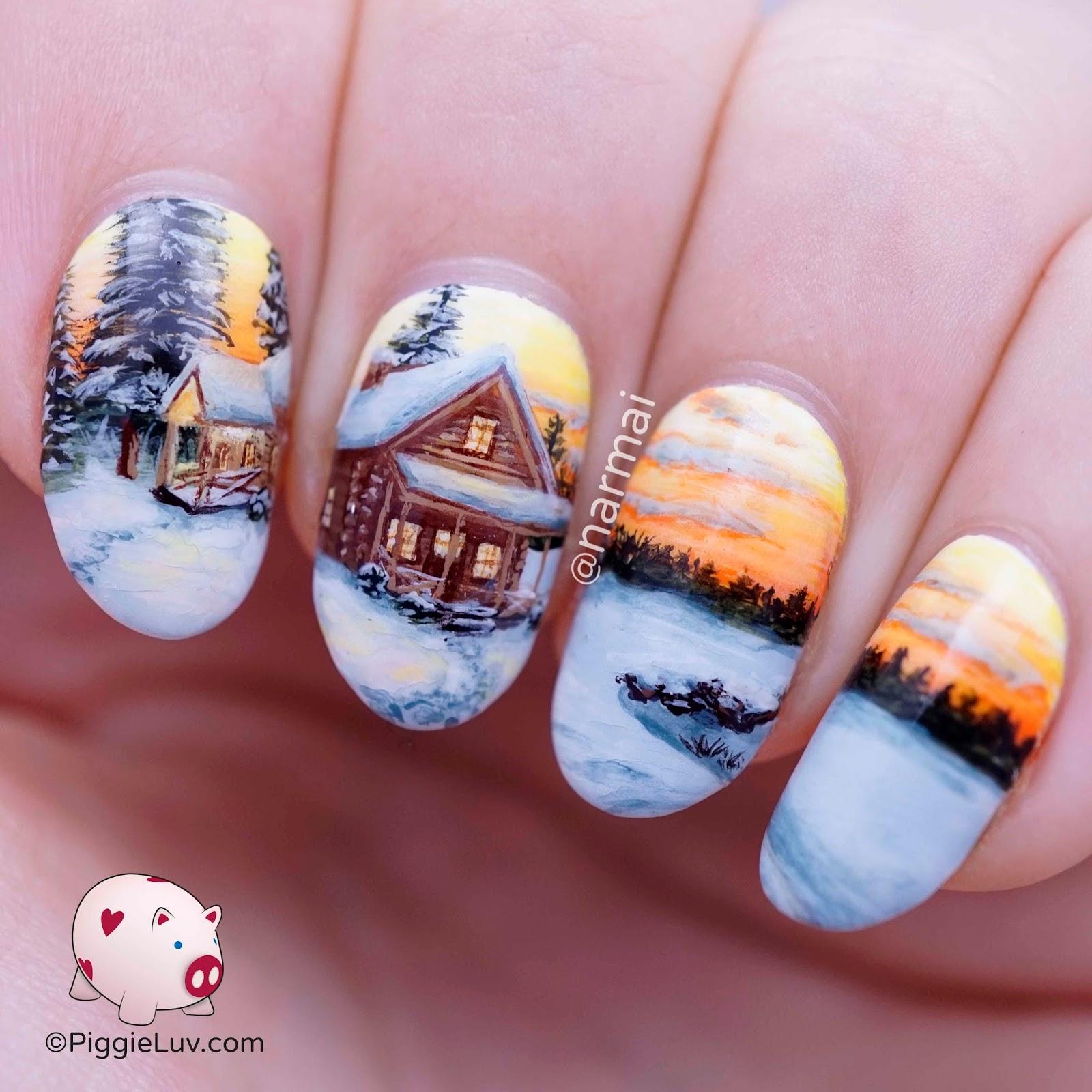 PiggieLuv: Freehand winter cabin landscape nail art