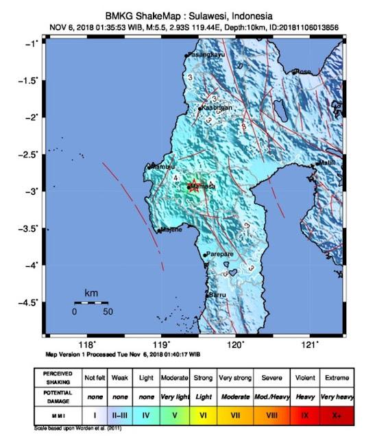 Lagi, Gempa Berkekuatan 5.5 SR di Mamasa, 37 km Barat Laut Tana Toraja
