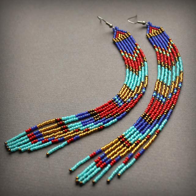 купить серьги в этническом стиле качественные изделия из бисера интернет магазин