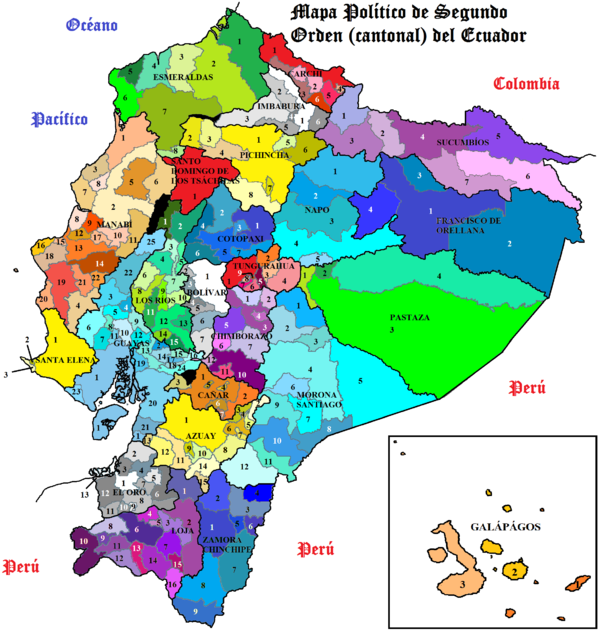 mapa politico ecuador