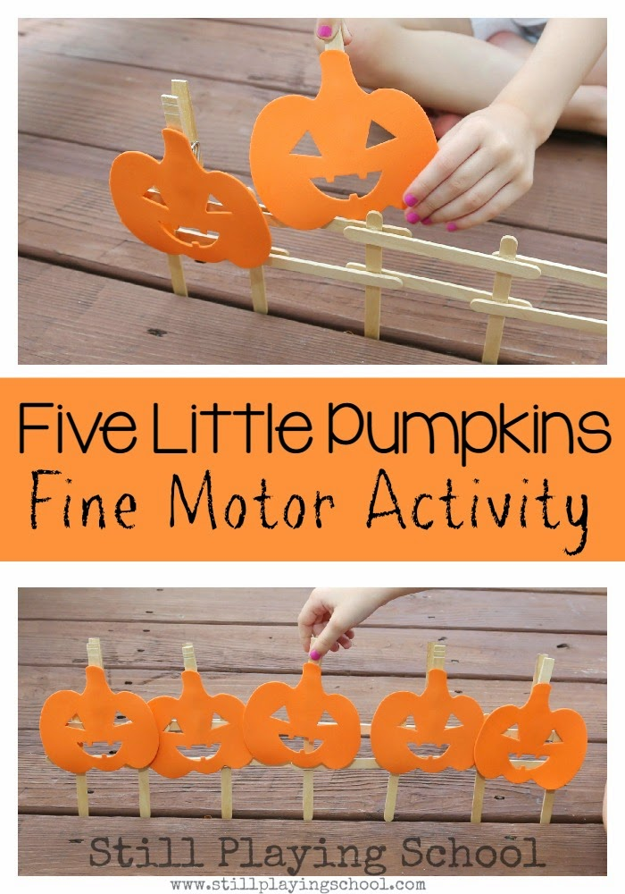 What a great way to retell The Five Little Pumpkins with kids for fine motor practice!