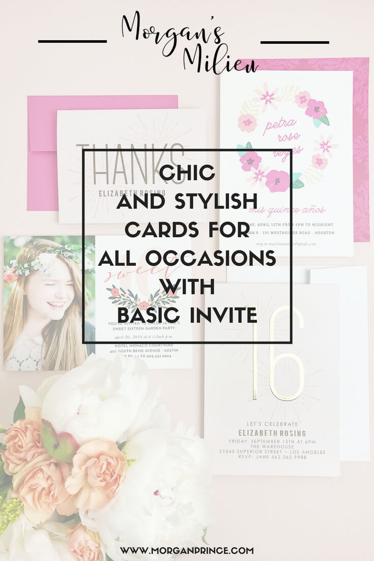 Pin for chic and stylish cards for all occasions with basic invite.