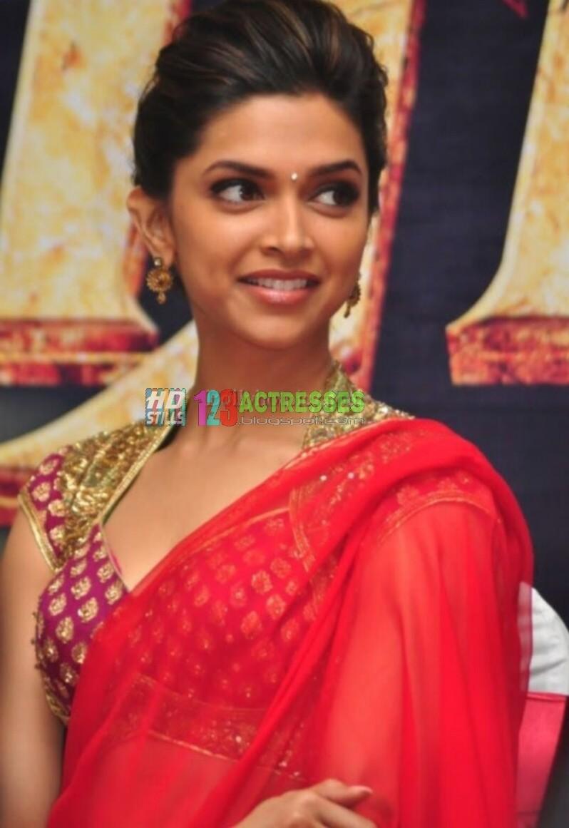 Deepika Padukone Red Saree Glamorous Stills