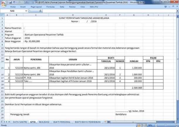 Format Laporan Pertanggungjawaban Bantuan Operasional Pesantren Tahfidz