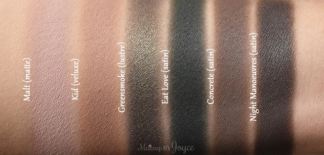 MAC Greensmoke Eat Love Night Manoeuvres Concrete Eyeshadow Swatches