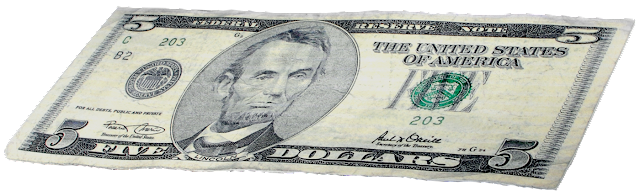 A American five dollar bill.