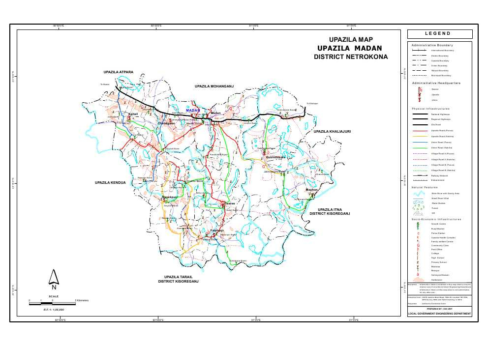 Madan Upazila Map Netrokona District Bangladesh