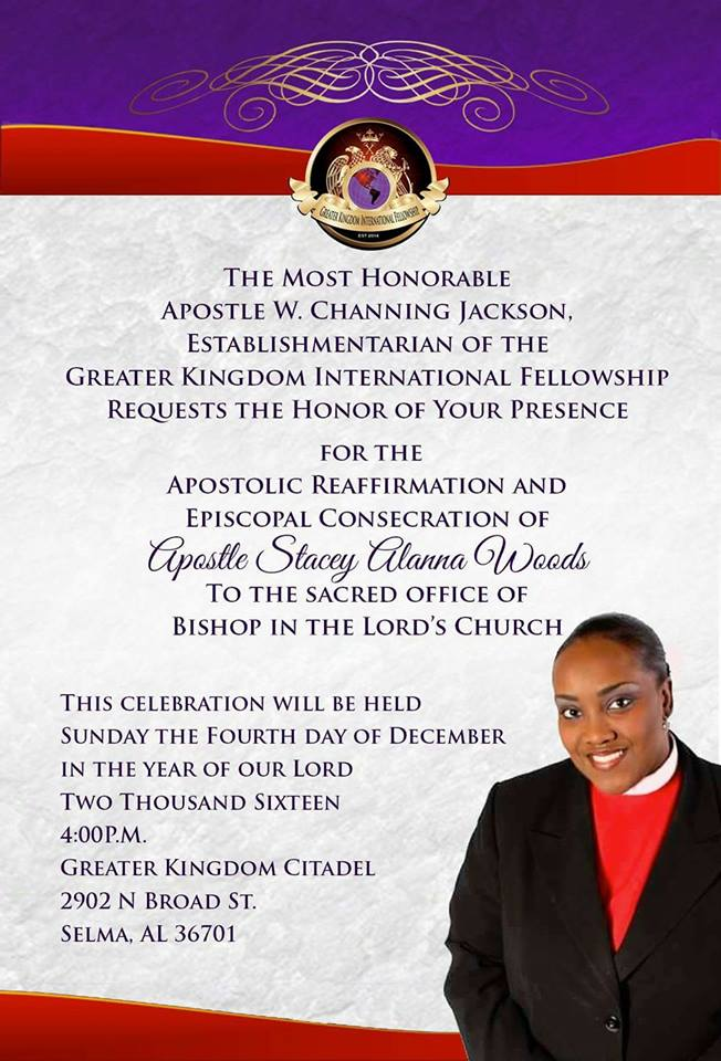 Congratulation Apostle Stacey Woods On Your Consecration To The ...