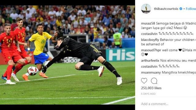 Thibaut Courtois terpantau mematikan kolom komentar pada akun Instagram miliknya