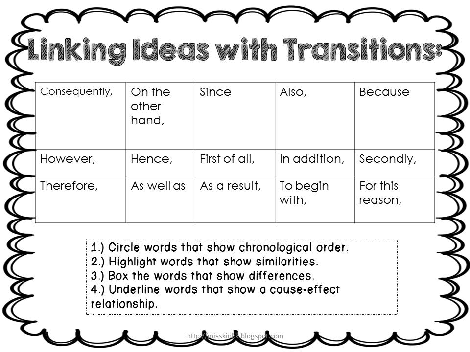 misskinbk a fifth grade blog using transitions in writing freebie. Black Bedroom Furniture Sets. Home Design Ideas