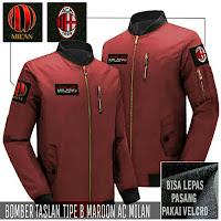 Jual Jaket Bomber Jokowi Pilot AC Milan Logo Lepas Pasang