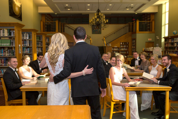wedding pictures in a library