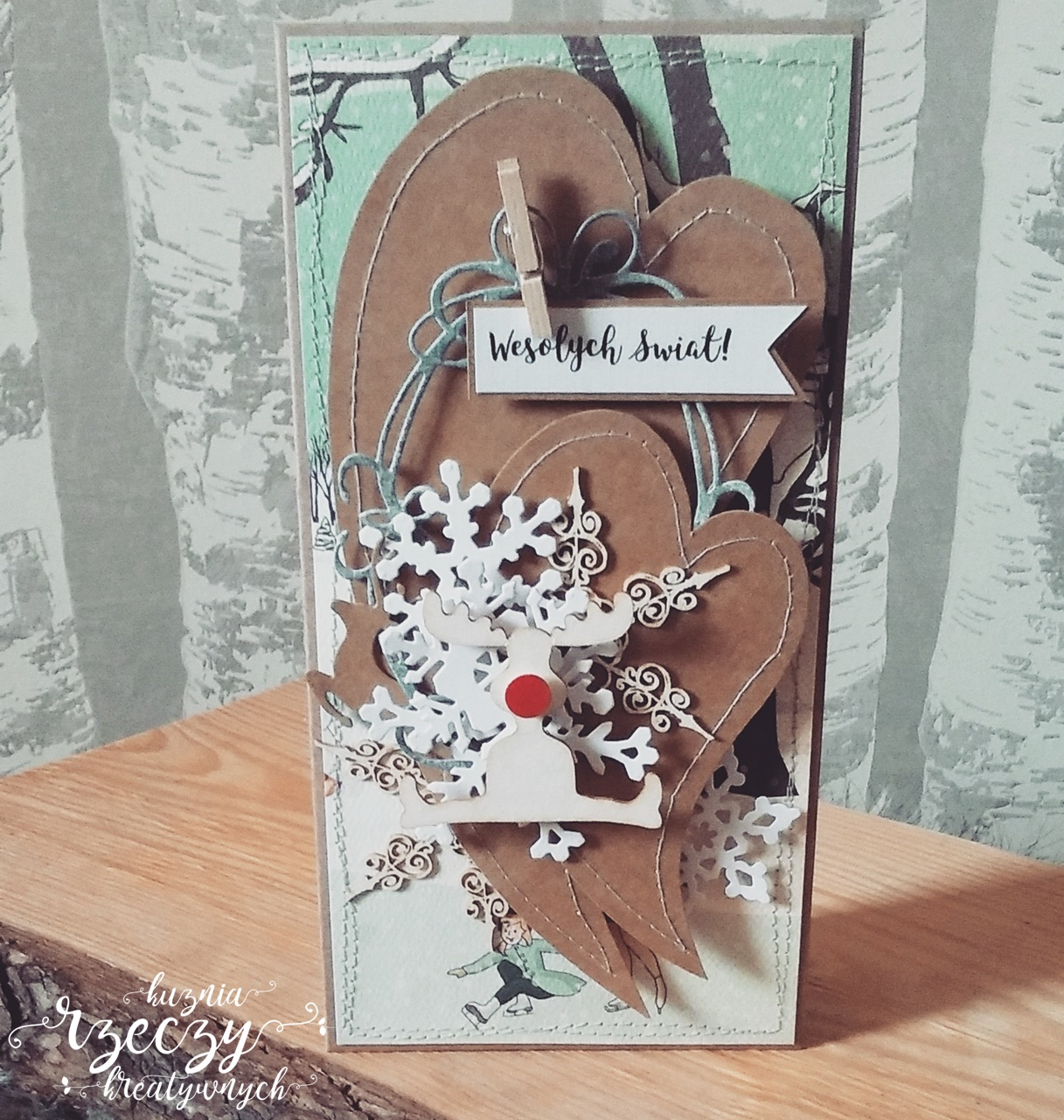 Wyjątkowa kartka świąteczna ręcznie wykonana.