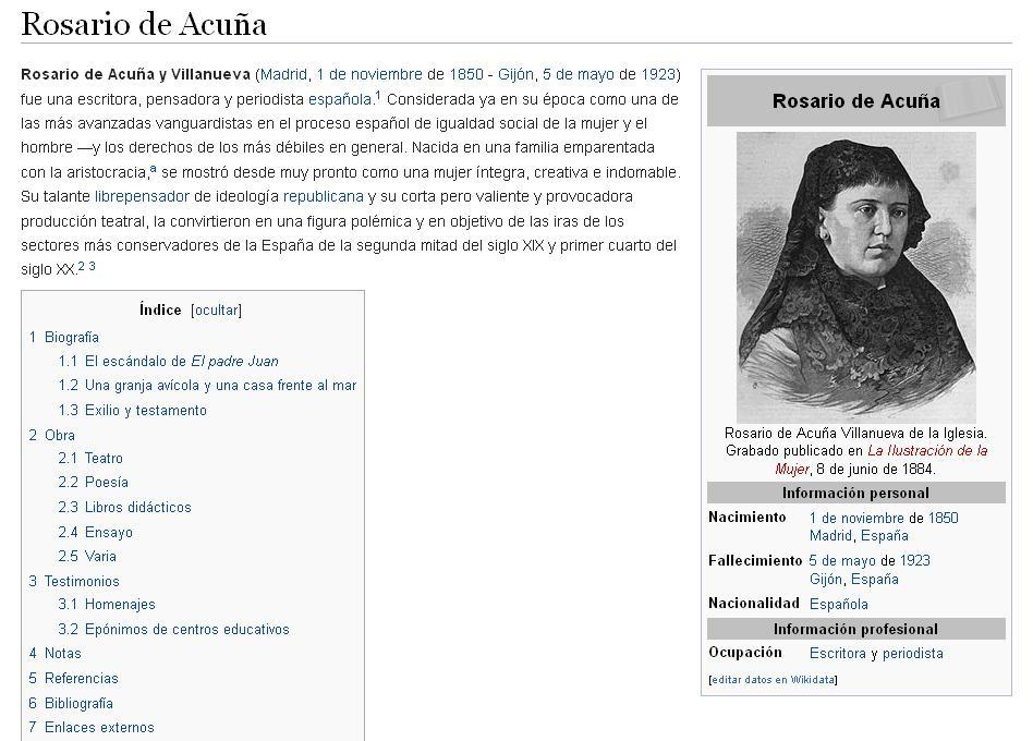 La entrada «Rosario de Acuña» en la Wikipedia (25-10-2015)