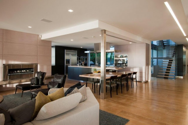 Photo of modern dinning room and part of the living room in an amazing home in Sydney, Australia