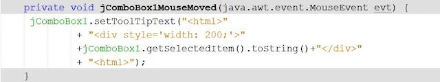 Mostrar textos largos de JComboBox en Java