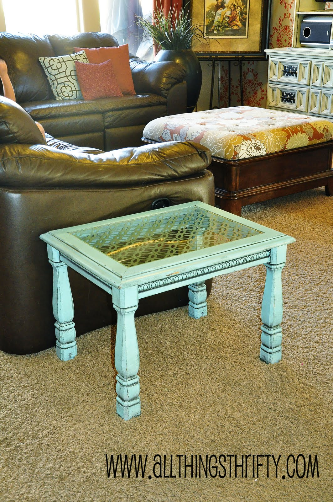 Add Character To Glass Furniture The Easy Way All Things Thrifty