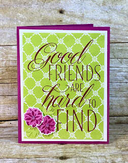 This all occasion card uses Stampin' Up!'s Lovely Friends stamp set and Lovely Laurels Thinlits.  We also used the Glitter Enamel Dots.  The full supply list is on the blog!  www.stamptherapist.com #stampinup #stamptherapist