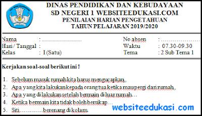 Soal PH Kelas 1 Tema 2 Kurikulum 2013 Tahun 2019/2020