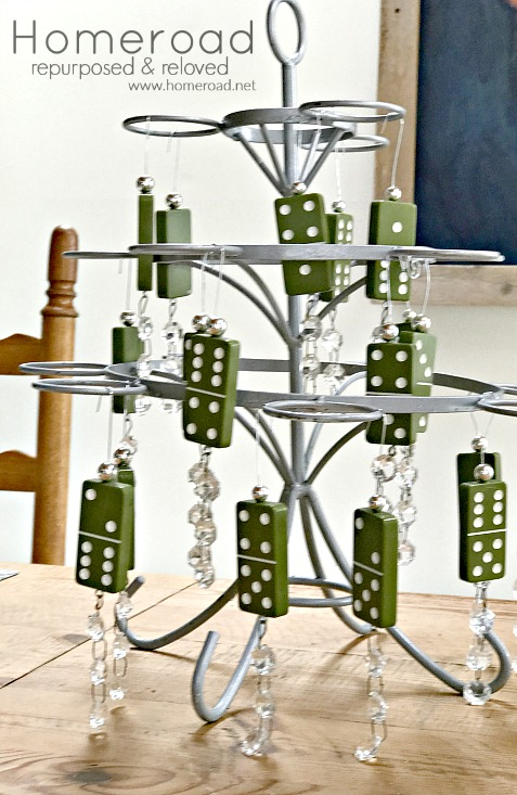 Green Domino ornaments on a tree