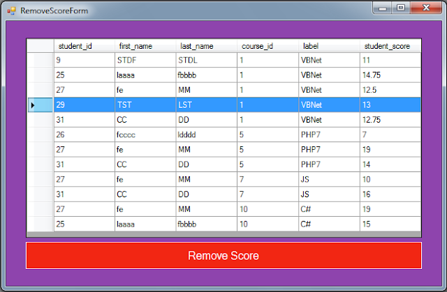 C# Students Information System Source Code - delete score