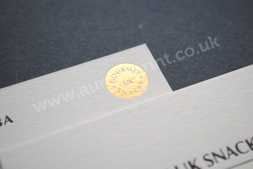 Hot foil business cards by auroraprint gourmet uk snacks business cards colourmoves