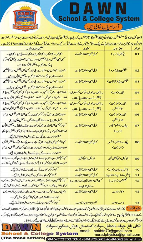Dawn School & College System Teacher, Principal Section Head  jobs  Swat May 31 2017