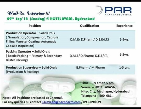 PAR Pharmaceuticals  Walk-In Interviews For Multiple Positions at 9  Sep