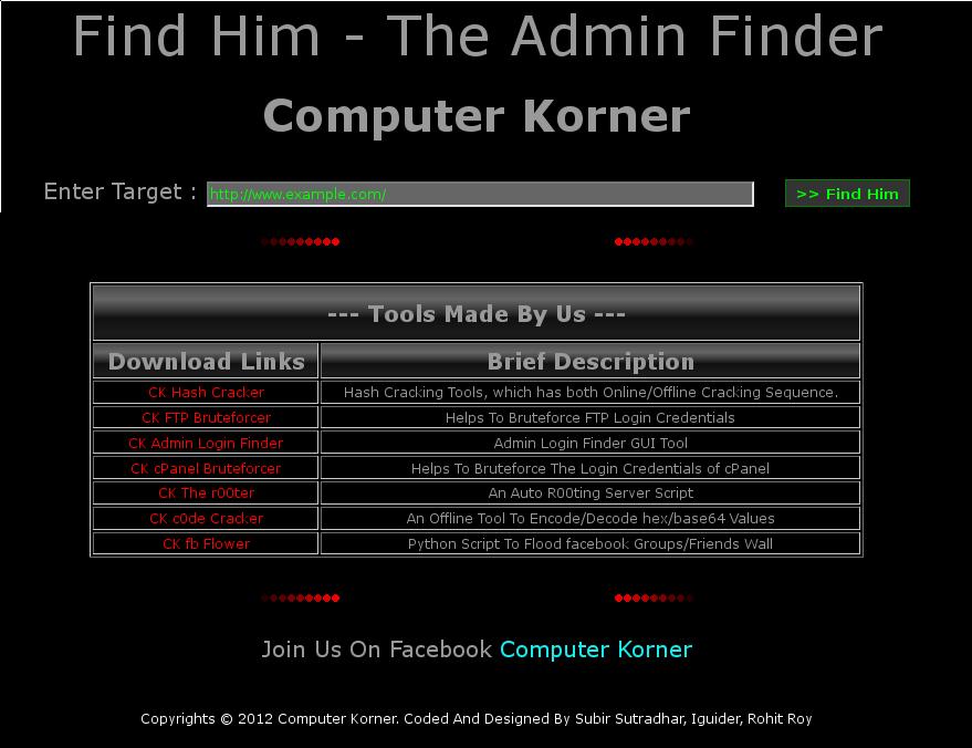 COMPUTER KORNER: Find Him - The Admin Finder (Linux)