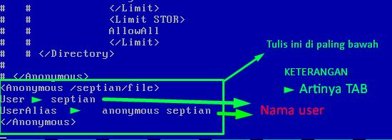 konfigurasi proftpd.conf lokasi file dan user