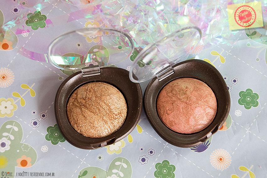 Blush (Bronze Espontâneo) e Sombra (Dourado Inspirador) Efeito Marmorizado Aquarela – Natura