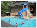 Family friendly pool, toddler splash area and water slide