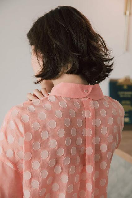 泡泡香檳拼接造型襯衫